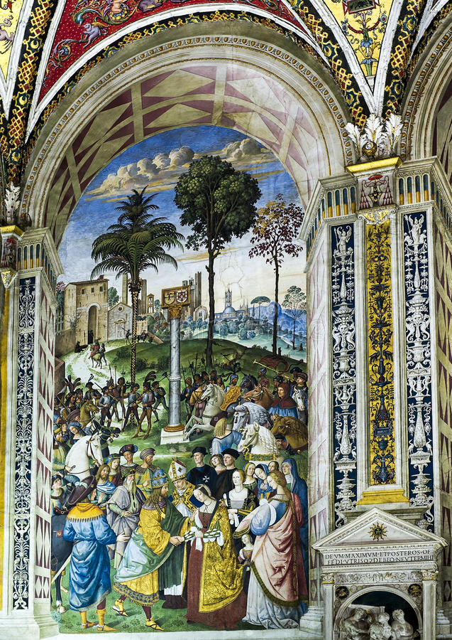 Fresco number 5 in the Piccolomini Library in the Siena Cathedral royalty free stock image