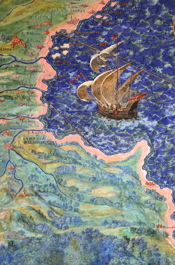 Fresco of the old geographical map. Coastline and ship. Detail of one from the series of 40 intricate geographical maps designed by Egnazio Danti in 1580 for the royalty free stock images