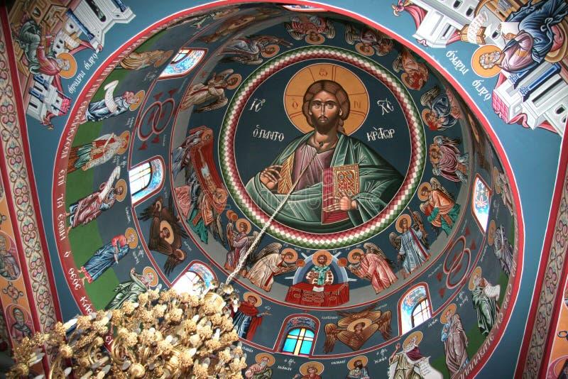 Fresco in orthodox monastery stock image