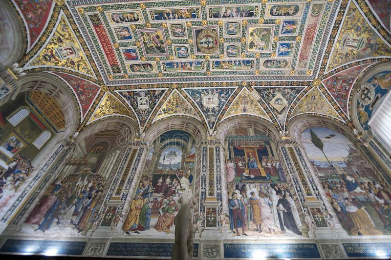 Fresco paint picture if Interior of Piccolomini Library in Siena Cathedral Duomo di Siena royalty free stock photography