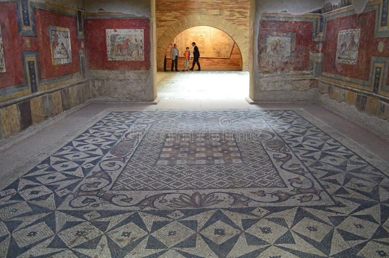 Fresco painting and mosaics, Roman Museum, Museo Nacional de Arte Romano Merida, Spain royalty free stock photography