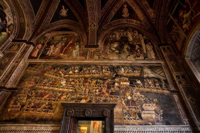 Fresco Battle of Punta San Salvatore pope Alexander III Aretino, Sala di Balia, Palazzo pubblico, Siena, Tuscany, Italy royalty free stock photography