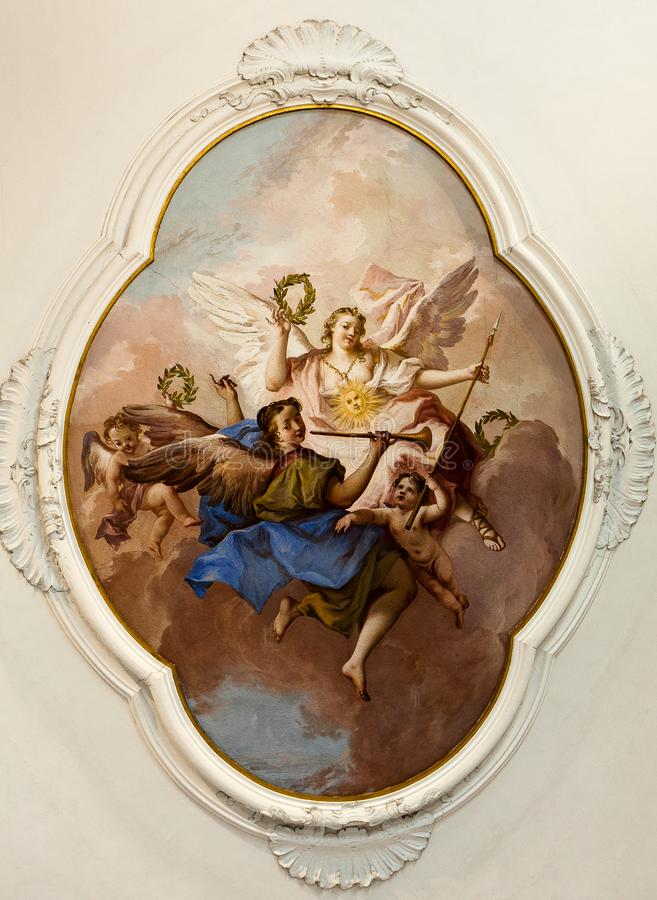 Fresco painting tiepolo ceiling angels Villa Pisani, Stra, Veneto, Italy royalty free stock images