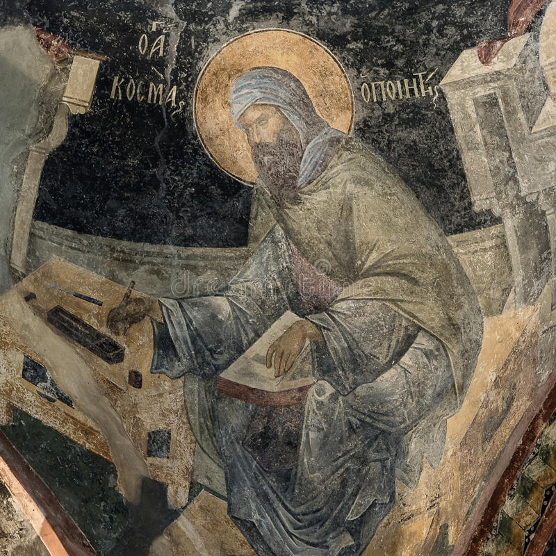 Fresco of the poet Saint Kosmas royalty free stock photography