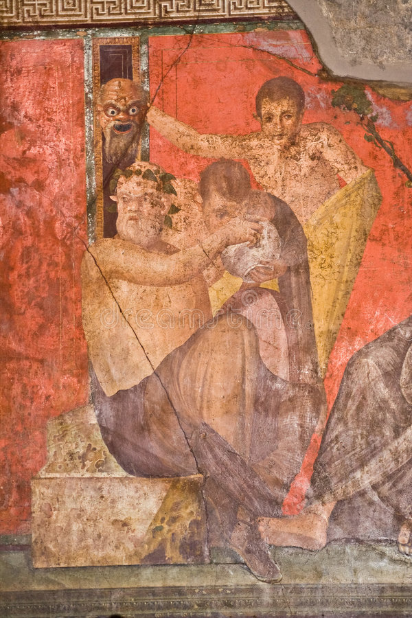 Fresco in Pompeii. Fresco from Pompeii's Villa of Mysteries. Italy stock photo