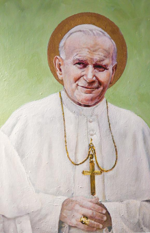 Fresco of Pope John Paul II royalty free stock photo