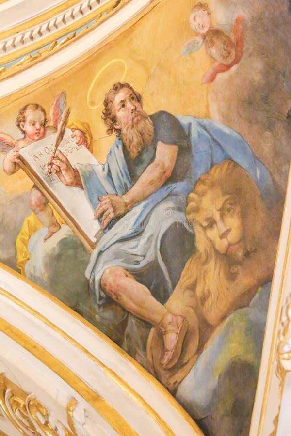 Fresco que representa St Mark el evangelista imagenes de archivo