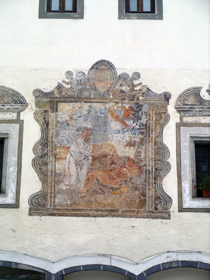 Fresco Radovljica, Slovenia. Faded Fresco on a building in Radovljica, Slovenia royalty free stock photos