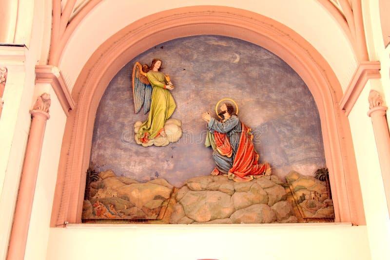 Fresco religioso na parede alemão da igreja foto de stock royalty free