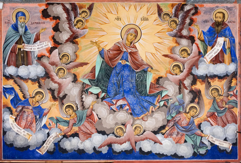 Fresco of Rila Monastery in Bulgaria royalty free stock photography