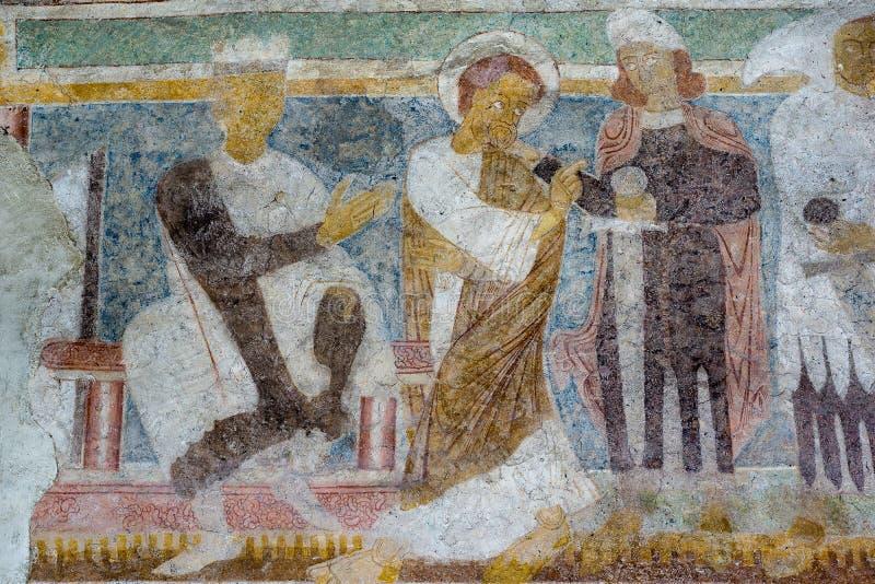 Fresco românico na igreja de Hojen, Dinamarca fotos de stock