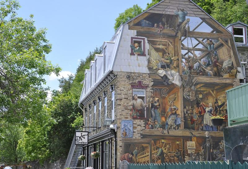Fresco on Rue du Petit Champlain from Old Quebec City in Canada. Fresco on Rue du Petit Champlain from Old Quebec City the UNESCO Heritage Site in Canada on 28th stock photography