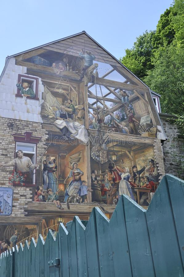 Fresco on Rue du Petit Champlain from Old Quebec City in Canada. Fresco on Rue du Petit Champlain from Old Quebec City the UNESCO Heritage Site in Canada on 28th stock image