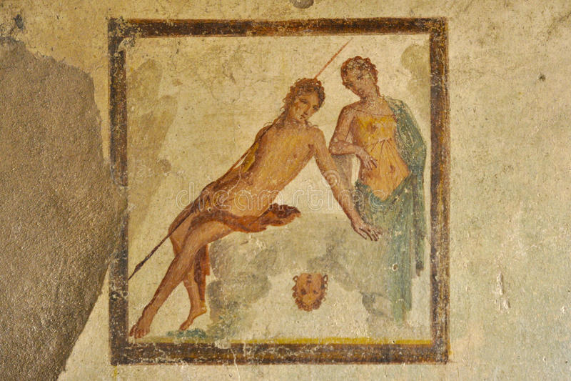 Fresco in the ruins of Pompeii. Roman antiquites remains after Vesuvio eruption 79 b.C stock photo