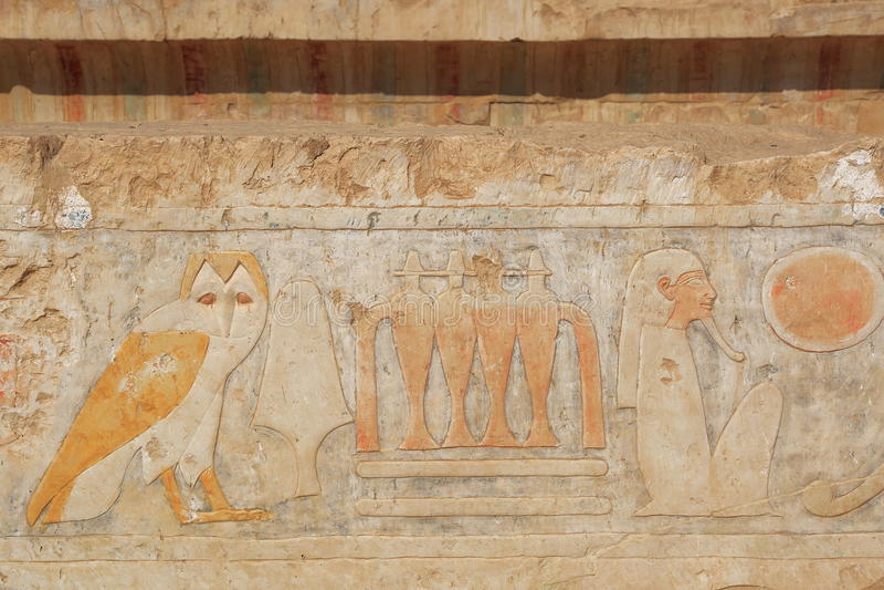 Fresco in the Temple of Hatshepsut. Fresco in the Temple of Queen Hatshepsut. Temple of Hatshepsut in Luxor, Egypt. The Mortuary Temple of Queen Hatshepsut, is stock photography