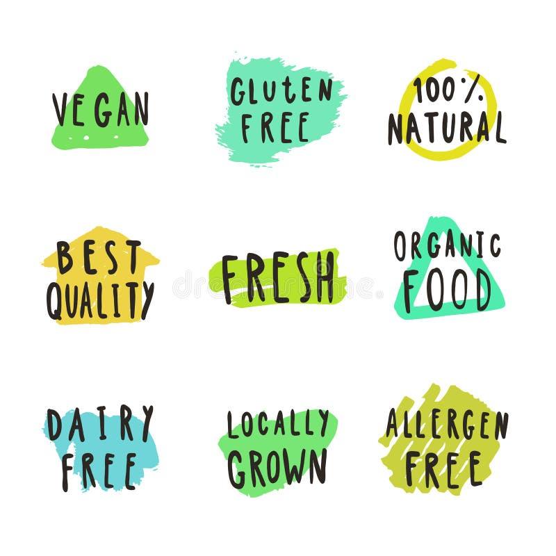 Fresco, vegano, naturale Distintivi della bevanda e dell'alimento royalty illustrazione gratis