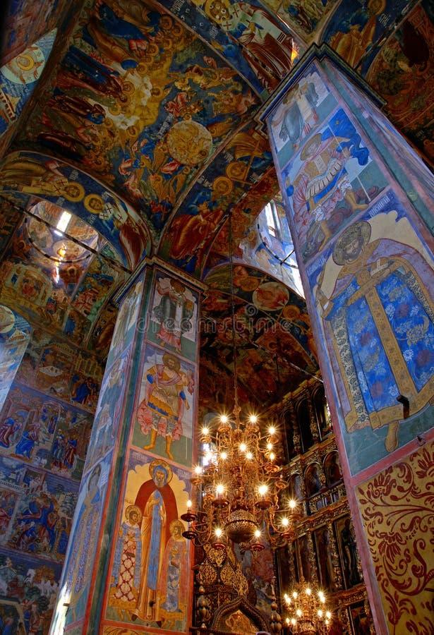 Fresco velho na igreja ortodoxa foto de stock