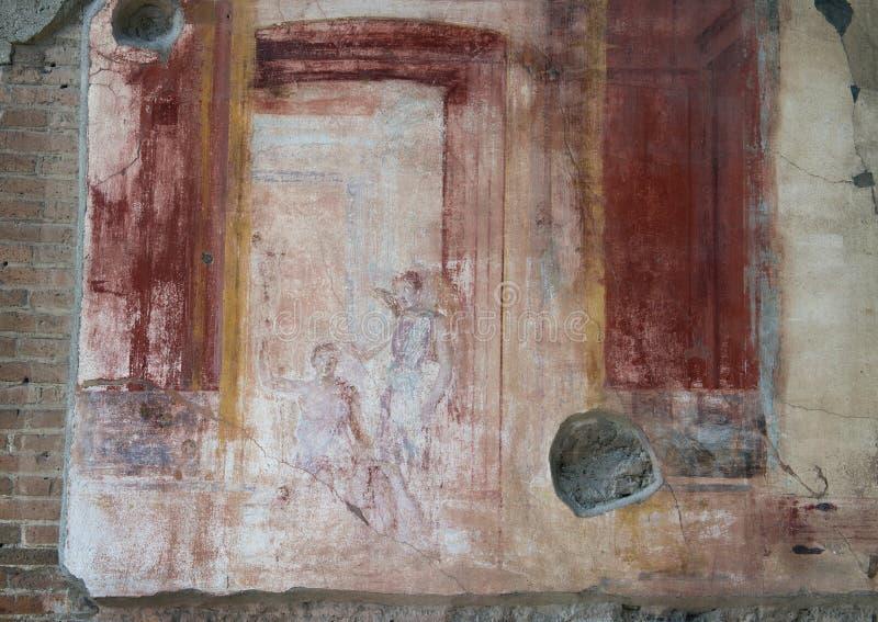 Fresco on wall building remains, Scavi Di Pompei stock photos