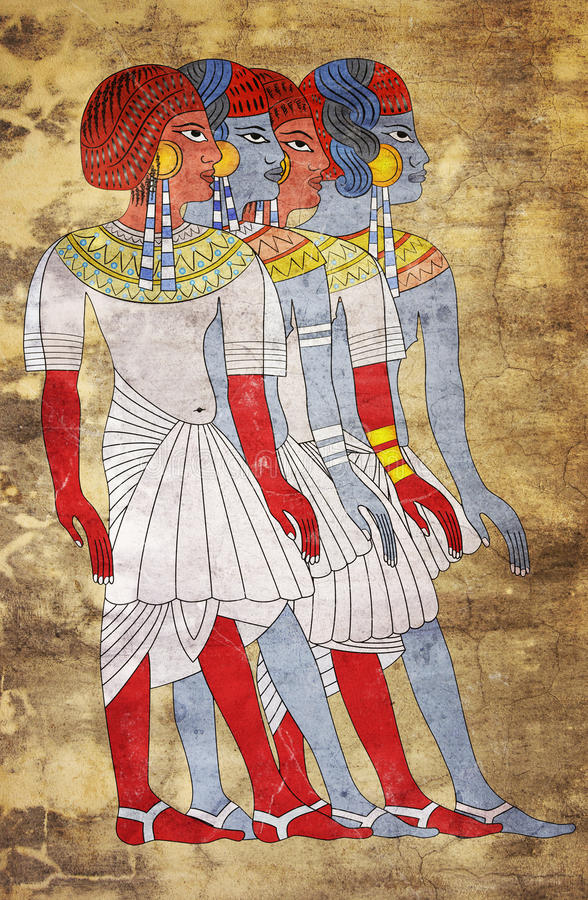 Fresco of Women of Ancient Egypt stock photography