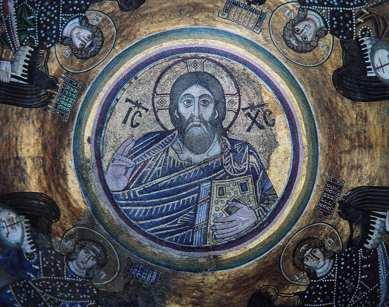 Frescoe antigo em Saint Sophia Cathedral, Kiev, Ucrânia imagens de stock