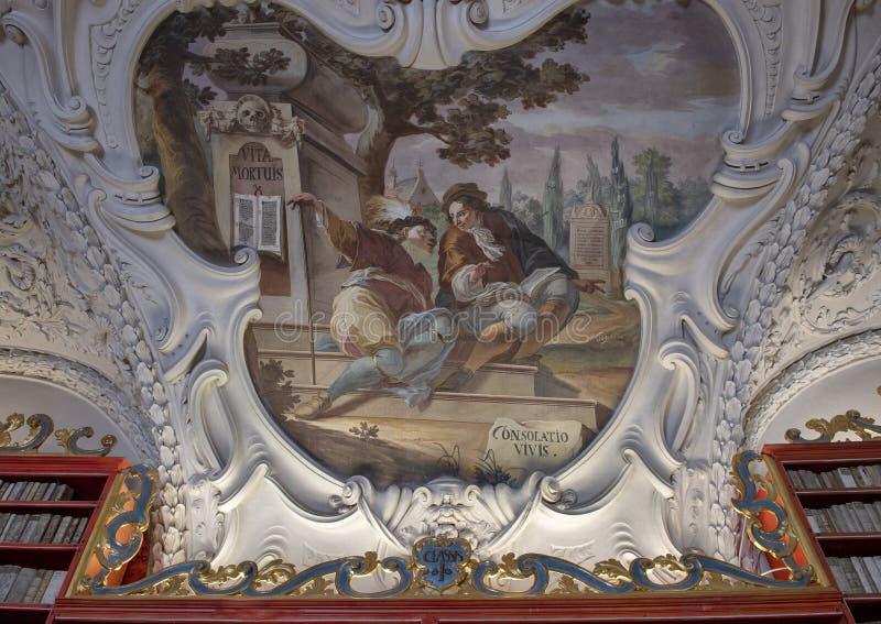 Frescoe auf der Decke des theologischen Halls der Strahov-Bibliothek stockbild
