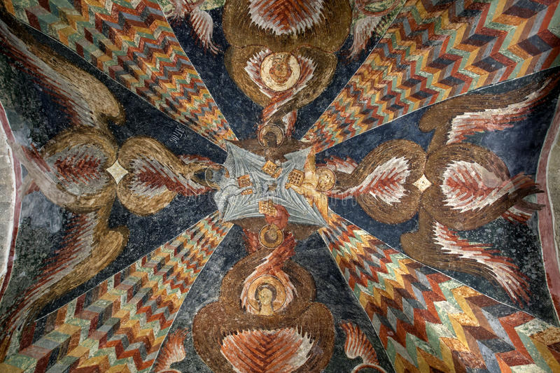A frescoe on the ceiling of the Aya Sofya Museum at Trabzon on the Black Sea coast of Turkey. royalty free stock photography