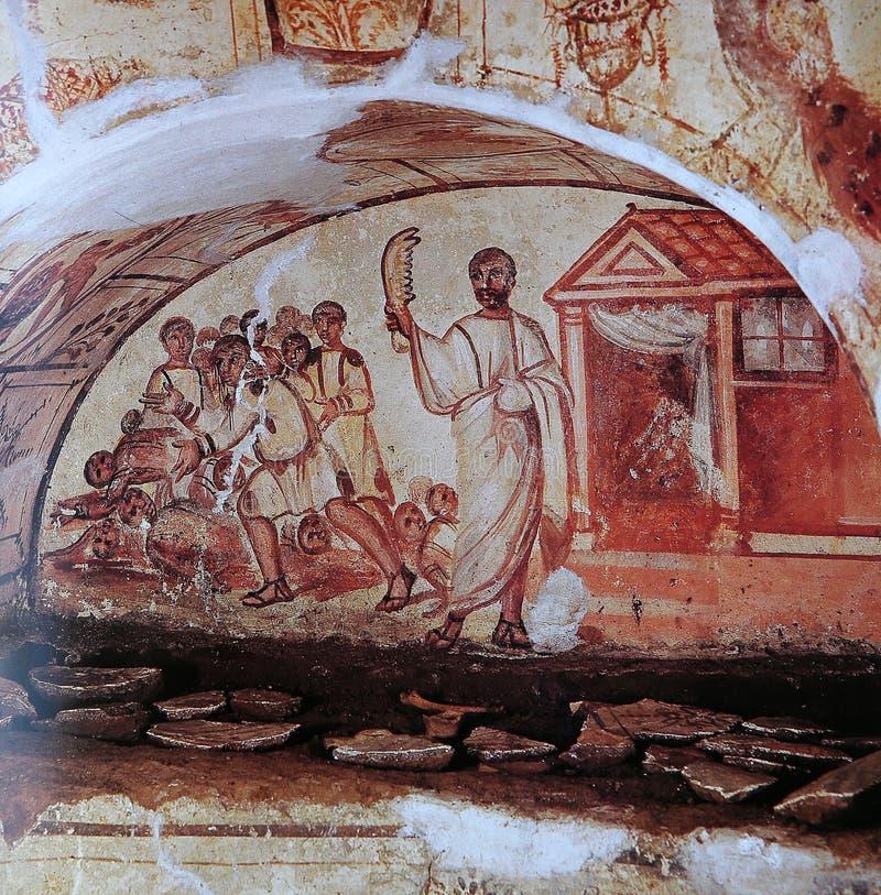 Frescoe cristiano in anticipo, catacomba del via Latina, Roma, Italia immagine stock