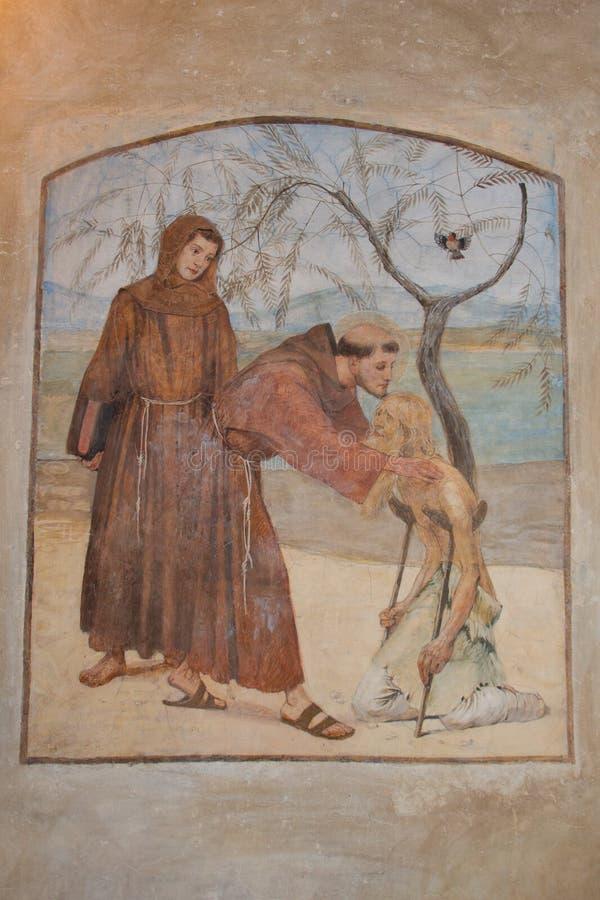 Frescoe da parede em San Francesco Monastery em Fiesole, Toscânia, Itália imagem de stock royalty free