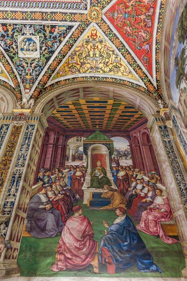 Frescoe Piccolomini图书馆锡耶纳 免版税库存照片