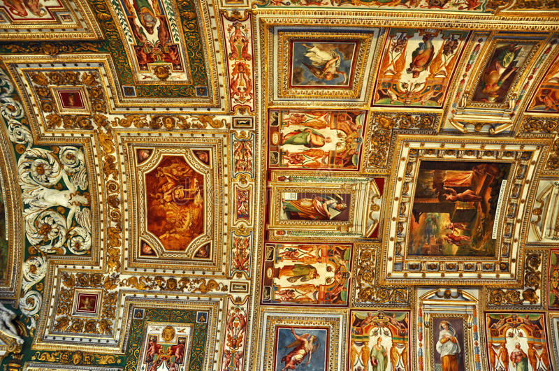 Frescoed ceiling of the Map Room in the Sistine Chapel in Vatican. Vatican museums royalty free stock photo