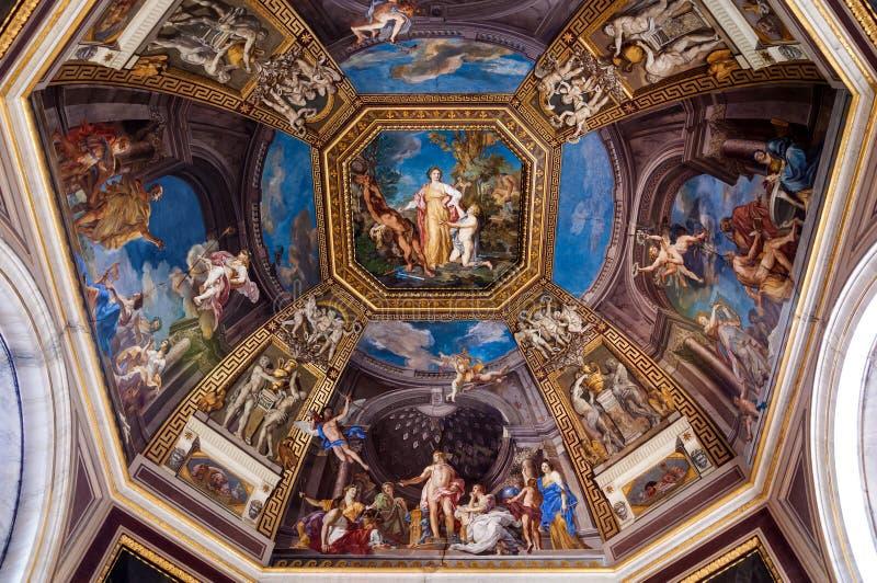 Frescoed Decke im Hall der Musen lizenzfreies stockbild