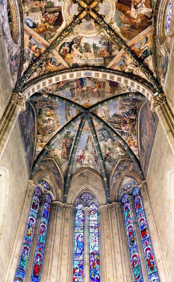 Frescoed Decken-Arezzo-Kathedrale Italien lizenzfreie stockfotos