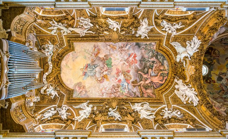 Frescoed vault by Giovanni Domenico Cerrini in the Church of Santa Maria della Vittoria in Rome, Italy. Santa Maria della Vittoria is a Catholic titular church stock photo