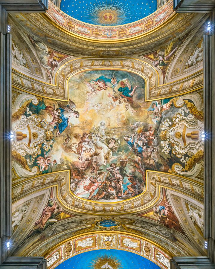 Free Frescoed Vault With `The Glory Of St Bridget` By Biagio Puccini, In The Church Of Santa Brigida, In Rome, Italy. Stock Photos - 142882813