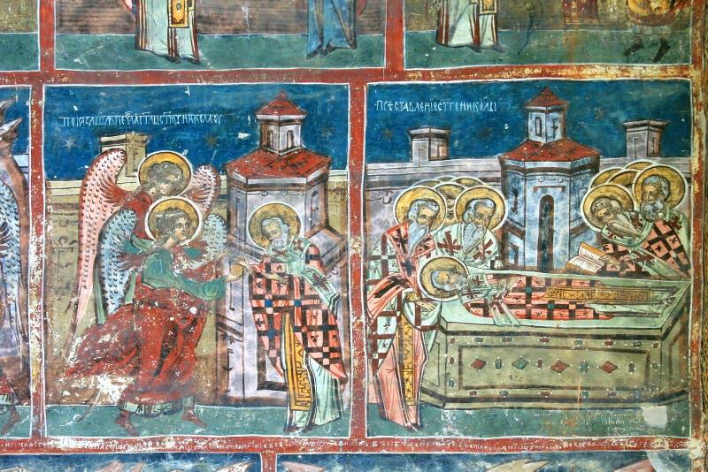 frescoen blidkar klostermålningen royaltyfri foto