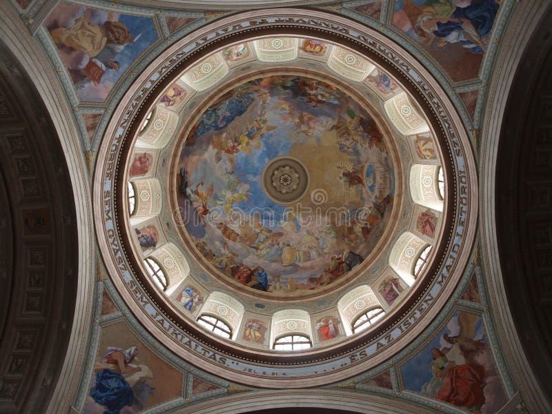 Frescoes. Inside Eger basilica in Hungary royalty free stock photo
