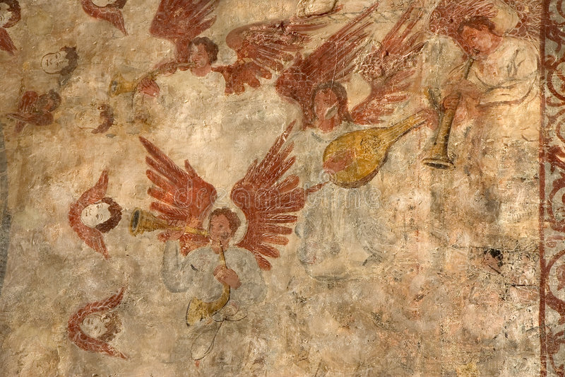 Frescoes in Alquezar, Spain. Frescoes in the Collegiate Church of Alquezar, Huesca, Aragon, Spain stock photography