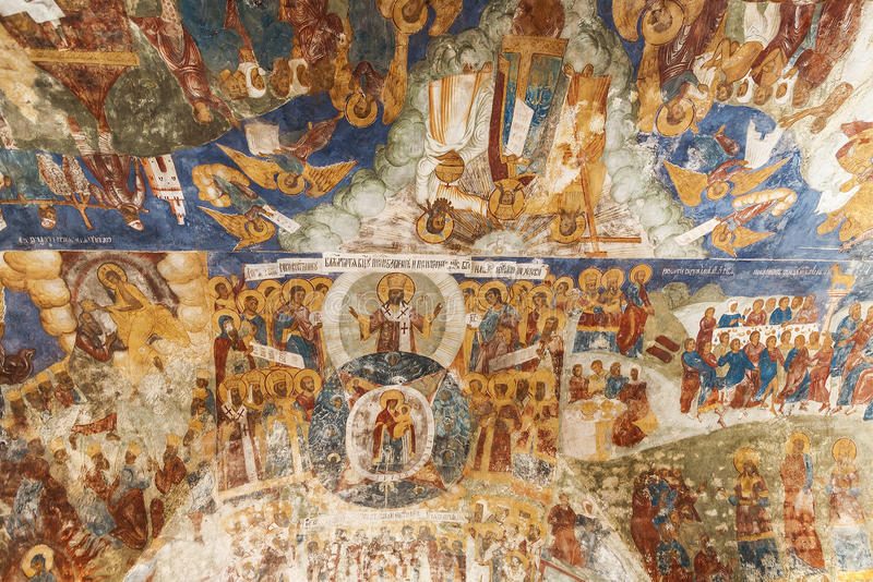 The frescoes in the Church of Elijah the Prophet in Yaroslavl. Russia royalty free stock photos