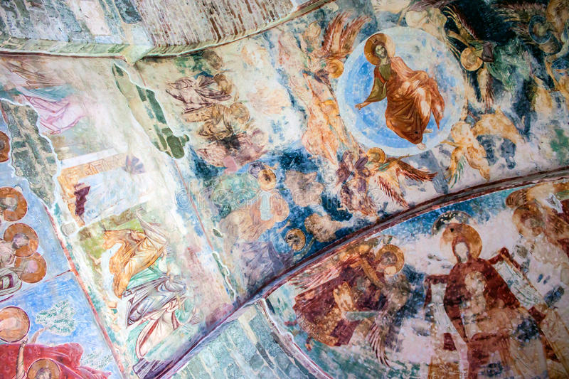 Frescoes in the church of Hagia Sophia in Trabzon royalty free stock images