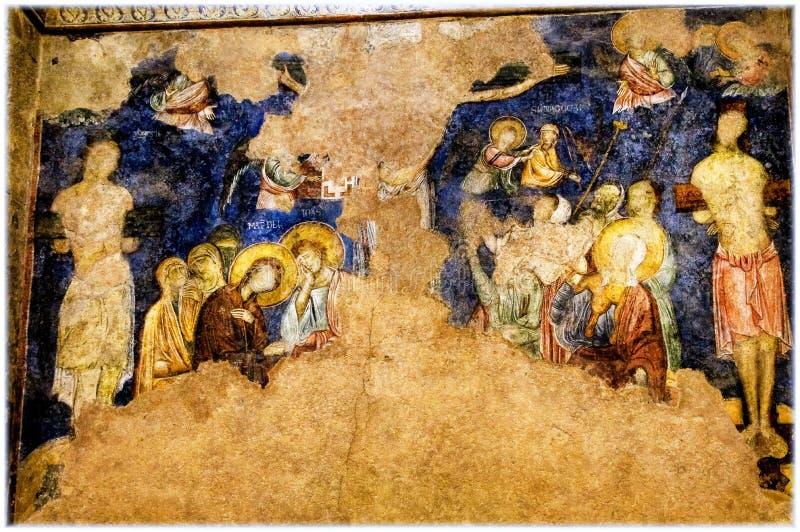 Benedictine monastery in Abu Ghosh. Frescoes in Church of the Resurrection, Benedictine Monastery, St Mary of the Resurrection Abbey in Abu Ghosh, near Jerusalem royalty free stock photo