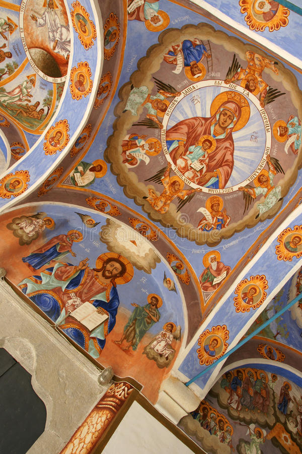 Frescoes - 10. Frescoes in the church Sokolski Monastery in the mountains of Bulgaria stock photo