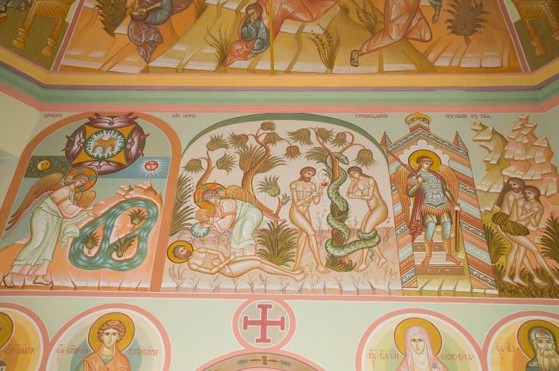 Frescoes in the Church of the Trinity (Trinity Skete village, Nizhny Novgorod region). Church of the Holy Trinity (Compound Holy Trinity Seraphim Diveevo stock images