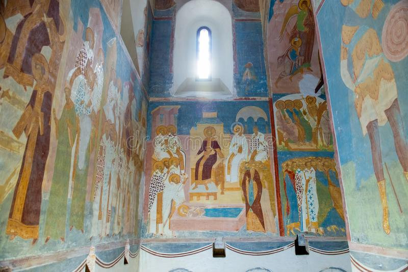 Frescoes of Dionysius. FERAPONTOVO, KIRILLOVO, VOLOGDA, RUSSIA - AUGUST 20, 2017: The Ferapontov Monastery. Interior details of the Cathedral of the Nativity of stock photography