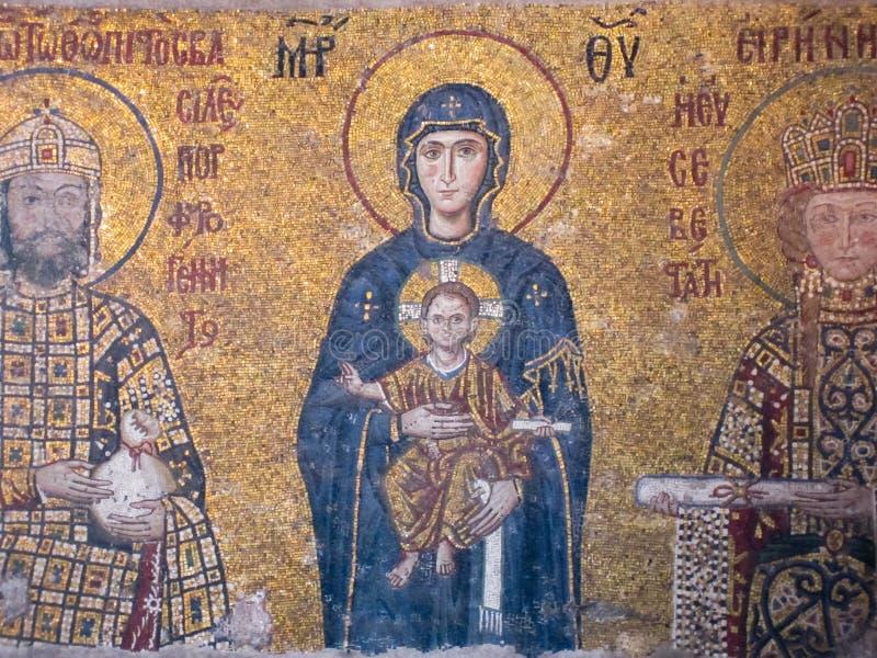 Frescoes in Hagia Sophia, Istanbul, Turkey royalty free stock images