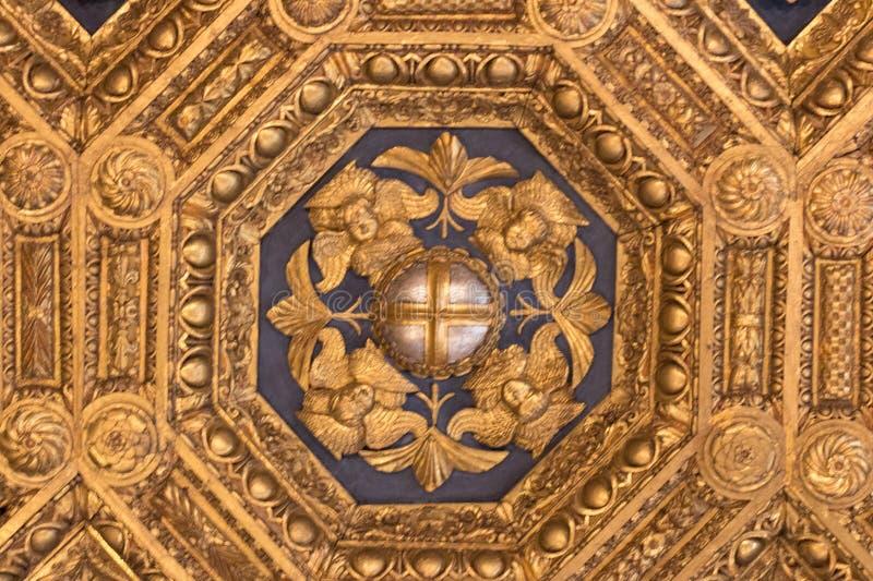 Frescoes i den Sala dell`en Udienza i Palazzoen Vecchio, Florence, Italien arkivbild