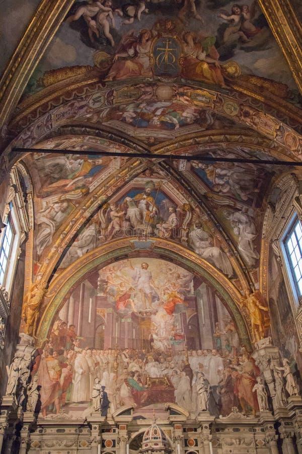 Frescoes i San Lorenzo Church inom den Florence Charterhouse kyrkan Certosa di Galluzzo di Firenze italy arkivbild