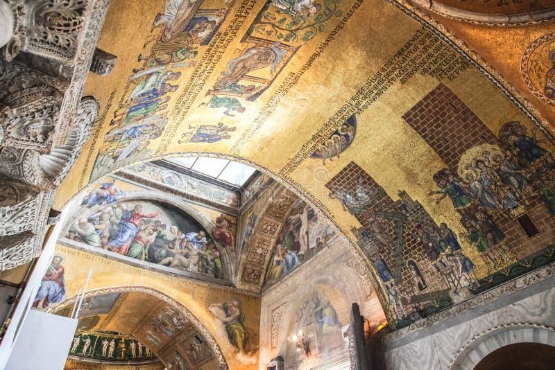 Frescoes na ścianach świątynia w Wenecja Ścienna sztuka zdjęcie royalty free
