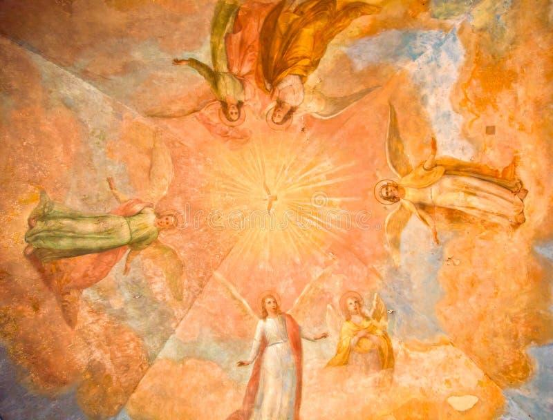 frescoes på kupolen av templet av helgon royaltyfri bild