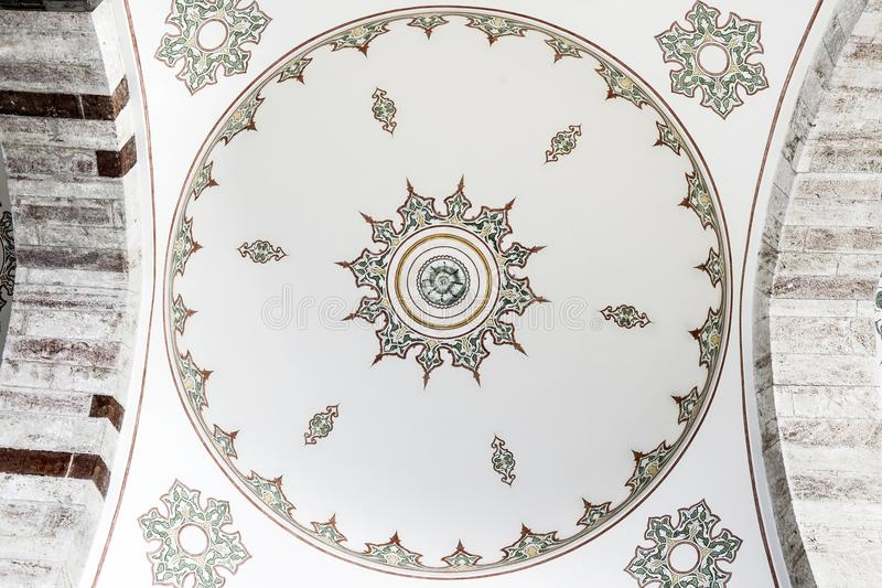 Frescoes painted on the ceiling in a Muslim temple in Turkey. stock photography
