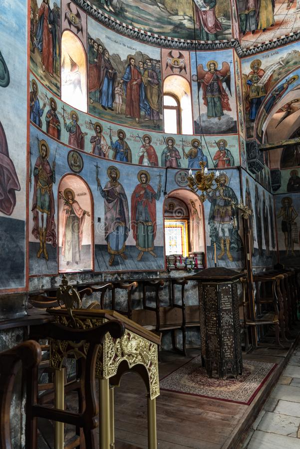 Frescoes and paintings in Bachkovo monastery aka Assumption of the Holy Virgin, landmark and pilgrimage site. Asenovgrad,. Asenovgrad, Bulgaria - May 7, 2019 stock images